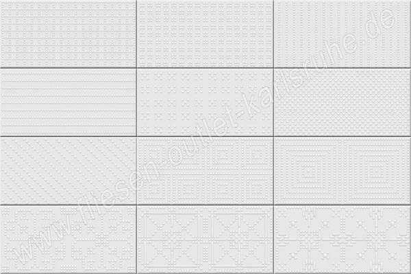 Vives Fatracci blanco 10x20 cm Relief-Dekor weiß glänzend