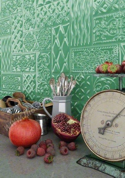 Vives Raspail oliva 10x20 cm Relief-Dekor olive glänzend