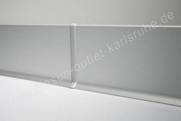 Metall-Sockelleiste H=6cm, Alu weiss matt, pulverbeschichet Stab=200 cm