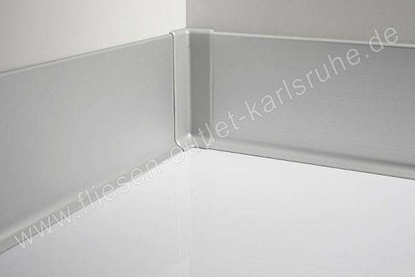 Metall-Sockelleiste H=6cm, Alu silber matt, pulverbeschichet Stab=200 cm