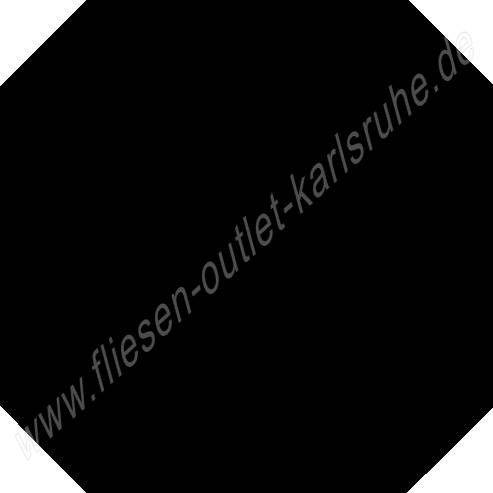 Achteckfliese 31,6x31,6 cm schwarz matt glasiert