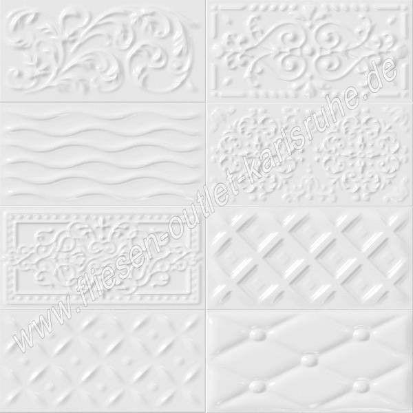 Vives Raspail blanco 10x20 cm Relief-Dekor weiß glänzend