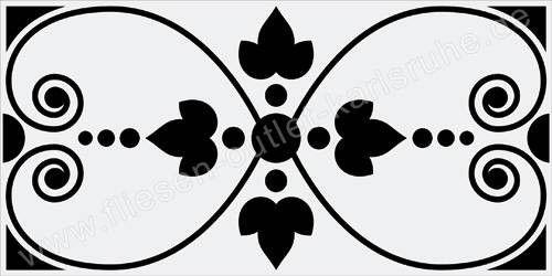 Vives Wandfliese 10x20 cm Dekor Rosiers Negro