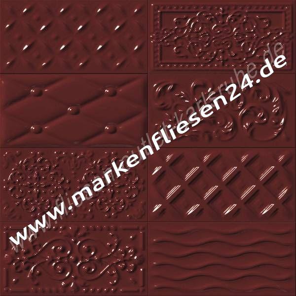 Metrofliese steingut 10x20 cm raspail cereza relief dekor for Fliesen holzoptik kirsche