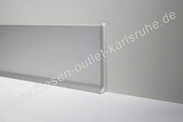 Metall-Sockelleiste H=6cm, Alu weiss glänzend, pulverbeschichet Stab=200 cm