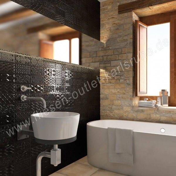 Vives Raspail negro 10x20 cm Relief-Dekor schwarz glänzend