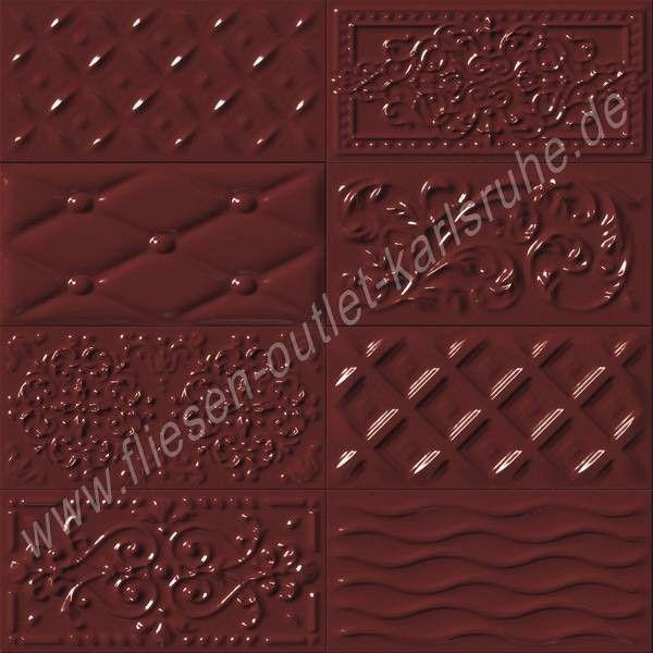 Vives Raspail cereza 10x20 cm Relief-Dekor kirsche glänzend