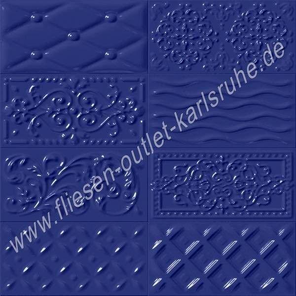 Vives Raspail marino 10x20 cm Relief-Dekor marineblau glänzend